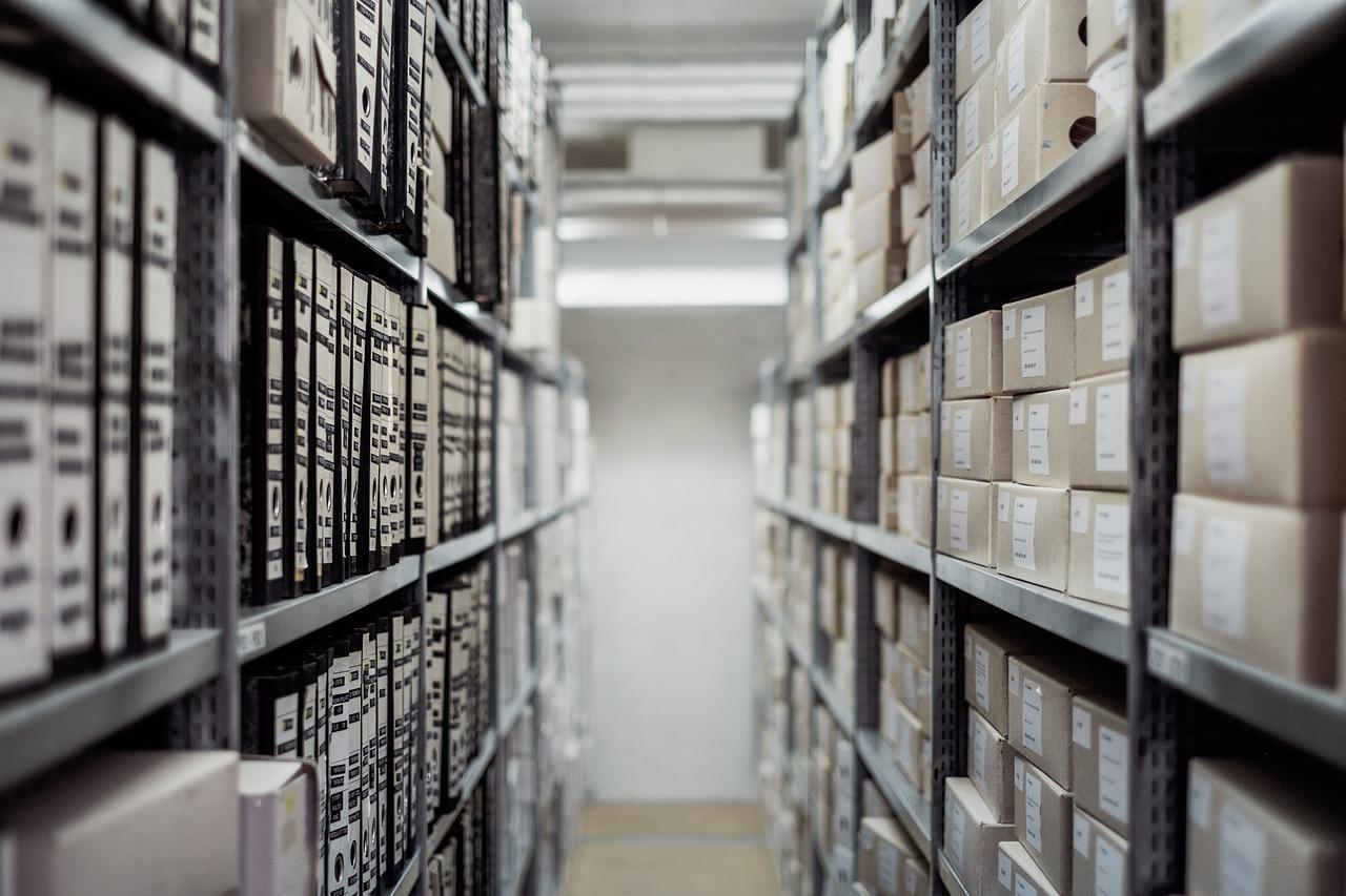 archive, boxes, shelf